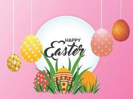 glad påsk bakgrund med färgglada påskägg och kanin vektor