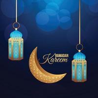 ramadan kareem islamiskt gratulationskort och bakgrund med gyllene lykta vektor