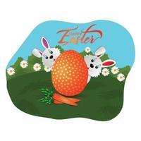 lyckligt påskhälsningskort med påskharen och ägg vektor