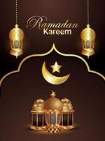 Ramadan Kareem oder Eid Mubarak Hintergrund mit goldener Laterne vektor