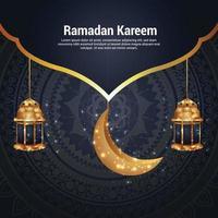 ramadan kareem eller eid mubarak gratulationskort med gyllene lykta vektor