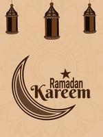 platt affisch av ramadan kareem islamisk festival med arabisk lykta vektor