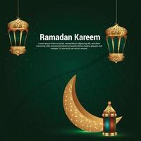 ramadan kareem bakgrund med kreativa gyllene lykta vektor