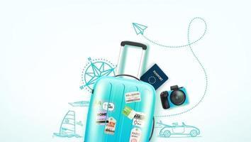 Reiseillustration mit Reisepersonal und Gekritzelfahrzeug vektor