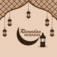 platt design av ramadan kareem med kreativ lykta vektor
