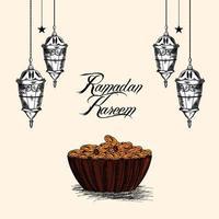 hand rita ramadan mubarak firande gratulationskort och bakgrund vektor
