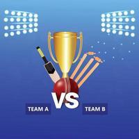 cricketmästerskapsmatch med cricketutrustning vektor
