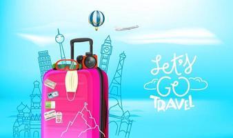 Sommerreisekonzept mit Gepäck, Kamera, Schutzmaske. Lass uns reisen gehen vektor