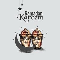 Hand zeichnen Ramadan Mubarak Feier Grußkarte und Hintergrund vektor