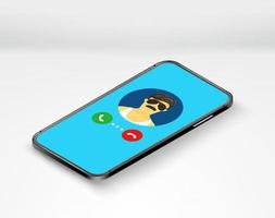 ringer i telefon. smartphone med ringer man. isometrisk vektorillustration vektor