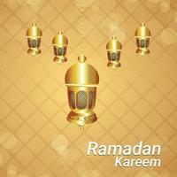 ramadan kareem med arabisk lykta och islamiskt mönster vektor