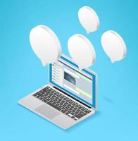 modernes Social-Media-Konzept mit Laptop- und Chat-Blasen. isometrische Vektorillustration lokalisiert auf weißem Hintergrund vektor
