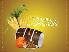 realistische glückliche vaisakhi sikh Festivalgrußkarte mit dhol und pagadi vektor