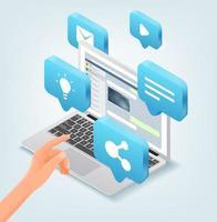 modernes Social-Media-Konzept mit Laptop- und Chat-Anwendung. isometrische Vektorillustration lokalisiert auf weißem Hintergrund vektor