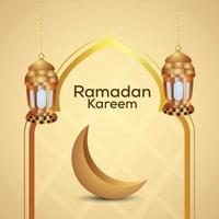 Ramadan Kareem Hintergrund mit goldener arabischer Laterne und Mond vektor