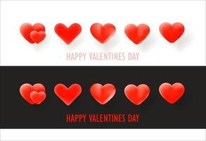 vektor hjärtan på vit och på svart bakgrund. glad alla hjärtans dag