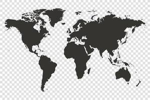 världskarta detaljerad vektorillustration vektor