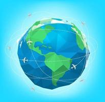 moderna flygplan flyger runt världen vektorillustration vektor