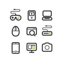 olika tekniska utrustning ikoner set vektor