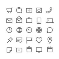 linjär web ikoner vektor set