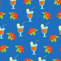 nahtloses Blumenmuster mit tropischen Blumen und Cocktails in Weingläsern, Vektordruck im flachen Stil, helles Sommermuster. vektor