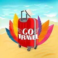 röd resväska på solig strand. åka resor vektor