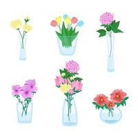uppsättning av olika buketter av blommor i vaser av olika former, vackra blommor, glas minimalistiska vaser, vektorillustration i platt stil.