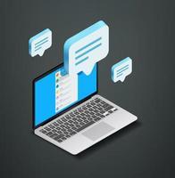 modernes Social Media Konzept mit Messenging-Anwendung. isometrische Vektorillustration lokalisiert auf weißem Hintergrund vektor