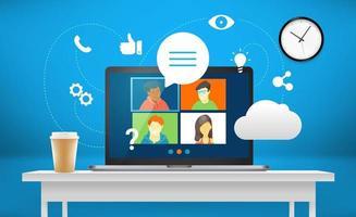 konferenssamtal med företagsteam via webbapplikation vektor