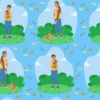 nahtloses Muster der glücklichen Tierhalter, Druck mit Hunden und Hundespielzeug, Vektorillustration im flachen tsili. vektor