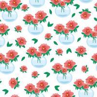 nahtloses Blumenmuster mit roten Mohnblumen, Blumen in Vasen verschiedener Formen, schöne Blumen, Glas minimalistische Vasen, Vektorillustration im flachen Stil. vektor