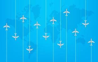 Weltreisekonzept mit modernen Flugzeugen vektor