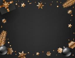 Weihnachtsrahmen, Tannenzweige, glänzende Kugeln und Schneeflocken vektor