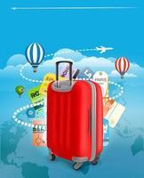 resväska och olika turistelement vektor