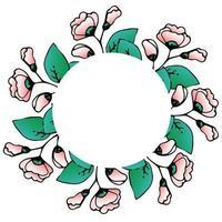 runder Blumenrahmen, chinesische Rose, rosa Hibiskus, Blumendekor für Geschirr und Fotos, Blumen im Gekritzelstil, Handzeichnung, Vektor. vektor