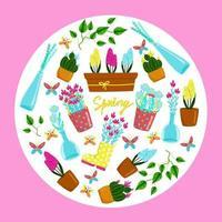 Grußkarte für Frühlingsferien, Frühlingsblumen, in einem Kreis angeordnete Vektorelemente, heller Satz des Frühlingsgartens und Innenblumen. Cartoon-Stil, Hand zeichnen. vektor