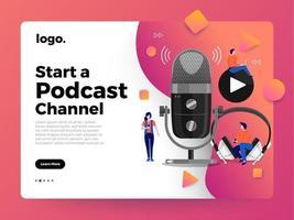 Vektor-Illustrationen Konzept Design Podcast-Kanal. vektor