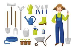 Vektorsammlung von Gartenwerkzeugen im flachen Stil lokalisiert auf einem weißen Hintergrund. Eine Gärtnerin mit Hut und Overall steht mit einer Schaufel. Gartenarbeit. Landwirtschaftsset.