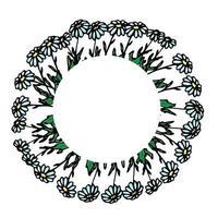 runder Rahmen mit Gänseblümchen, Gänseblümchenkranz, Blumenarrangement, Blumenmuster für Dekor, Blumenmuster, Vektorblumen im Handzeichnungsstil, Gekritzel. vektor