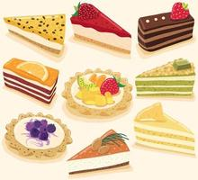samling av läckra desserter isolerad på gul pastell bakgrund vektor