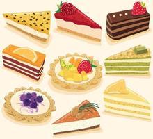 Sammlung von köstlichen Desserts lokalisiert auf gelbem Pastellhintergrund vektor
