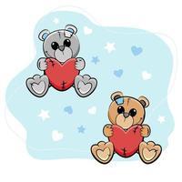 söta lilla nallebjörnar med hjärtan. vektor illustration.
