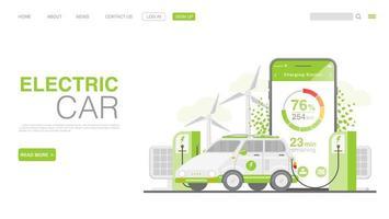ev Auto oder Elektroauto an der Ladestation. Konzeptillustration für grüne Umwelt. Landingpage im flachen Stil. Vektor eps 10