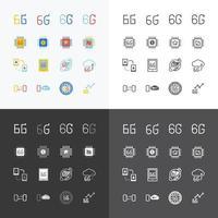 6g drahtlose Netzwerkgeschwindigkeit der 6. Generation. flaches Vektorsymbol für Apps und Websites vektor