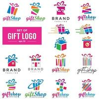 Set von verschiedenen Geschenken und Lieferung. Clipart-Sammlung von Weihnachtsgeschenken. Geschenkbox mit Schleifen. Geschenkladen-Ikonen, Logo lokalisiert auf weißem Hintergrund. vektor