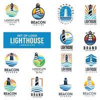 Sammlung von Leuchtturm Logo Design Vektor. flacher Satz der Leuchtfeuerlogoschablone vektor