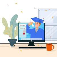 man glad efter virtuell examen ceremoni med chatt rutan vänster sida