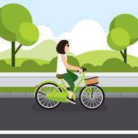 Rida en cykel kvinna vektor