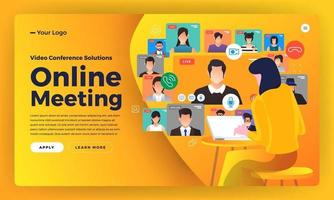 Illustrationen flache Design-Konzept Videokonferenz. Online-Meeting-Arbeit von zu Hause aus. vektor