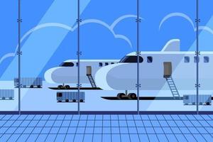 Flughafenterminal mit geparkten und wartenden Flugzeugen vektor
